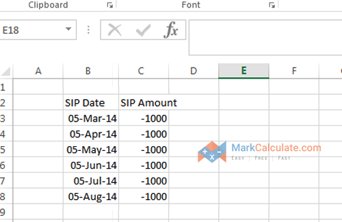 how to calculate sip manually - Step 2