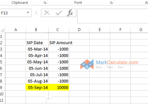 how to calculate sip manually - Step 3